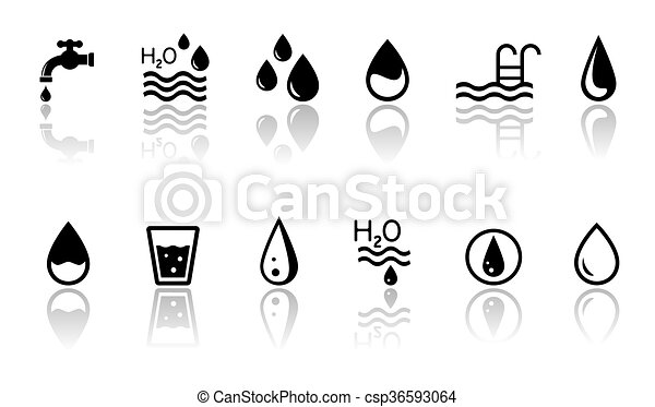 Water Concept Symbols With Reflection Black Water Concept Symbols