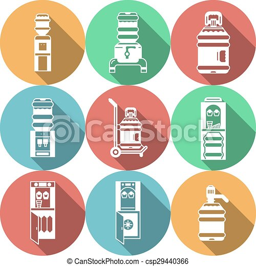 Water coolers services colored vector icons - csp29440366