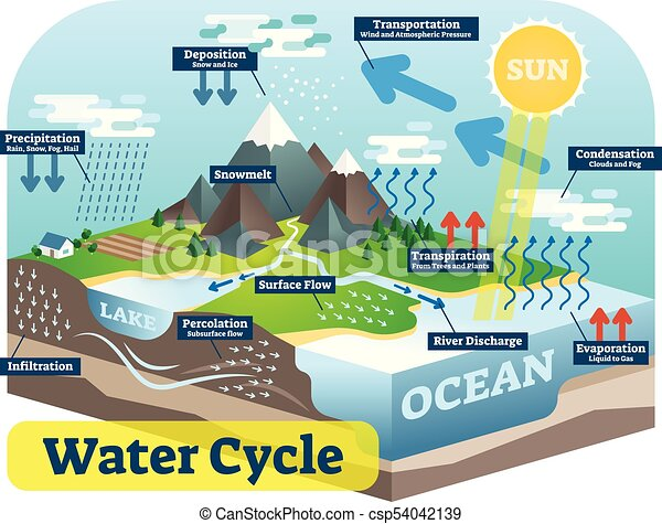 Water cycle graphic scheme vector isometric illustration water cycle graphic scheme vector isometric illustration ccuart Image collections