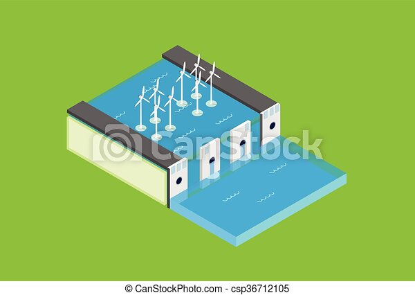 Water Dam Electric Station Wind Turbine Tower  Recycle Technology Top View 3d Isometric - csp36712105