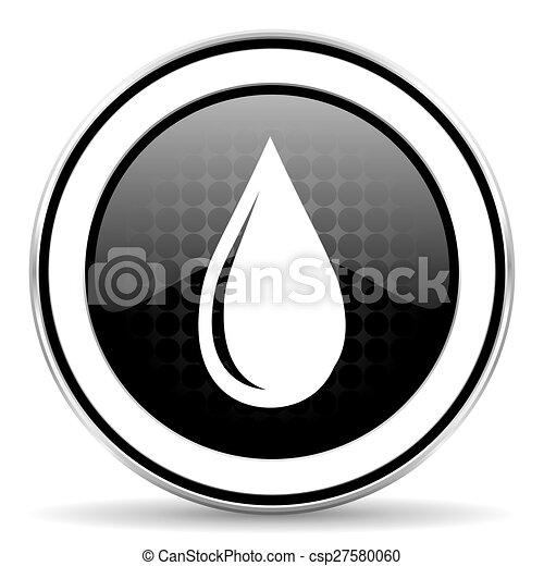 water drop icon, black chrome button - csp27580060