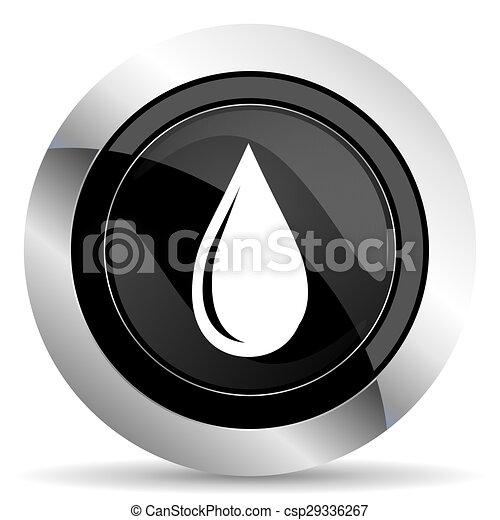 water drop icon, black chrome button - csp29336267