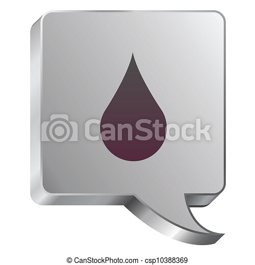 Water drop icon on steel bubble - csp10388369