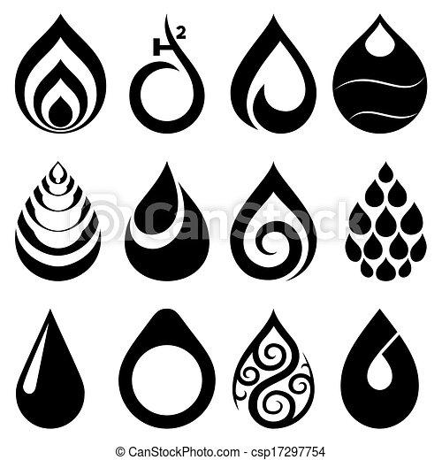 Water Drop Icons Set - csp17297754
