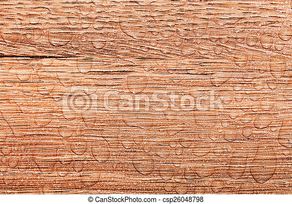 water drop on a wooden background - csp26048798