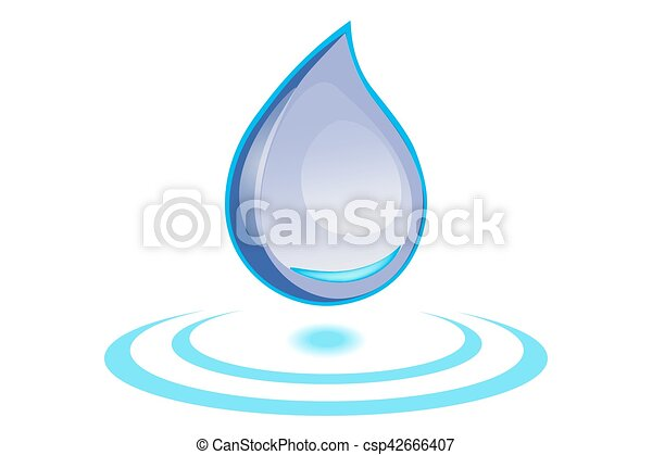 water drop on white background. - csp42666407