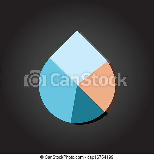 Water Drop Pie Chart Vector Modern Flat Design Vector Water Drop