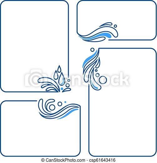 water, drop, splash, wave, set of banner frames - csp61643416