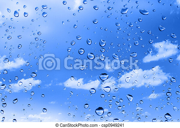 water drops against summer sky - csp0949241