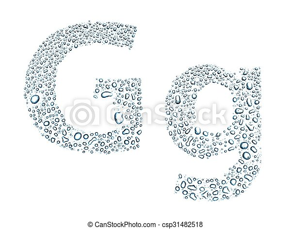 Water drops alphabet letter g isolated white water drops alphabet water drops alphabet letter g isolated white csp31482518 altavistaventures Images