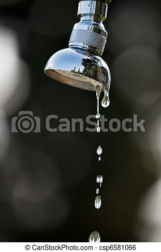 Water drops of a shower outdoors - csp6581066