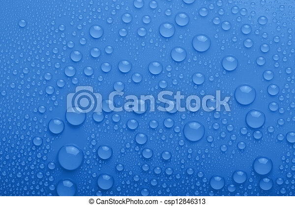 Water drops on blue background - csp12846313