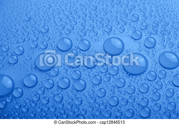 Water drops on blue background - csp12846513