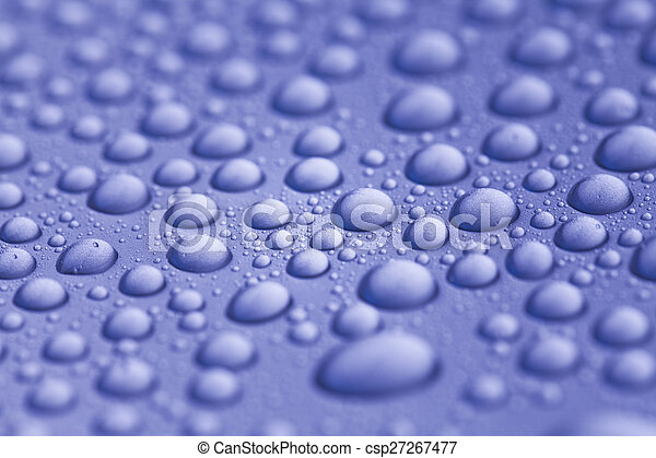 water drops on blue background - csp27267477