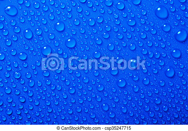 Water Drops On Blue Background - csp35247715