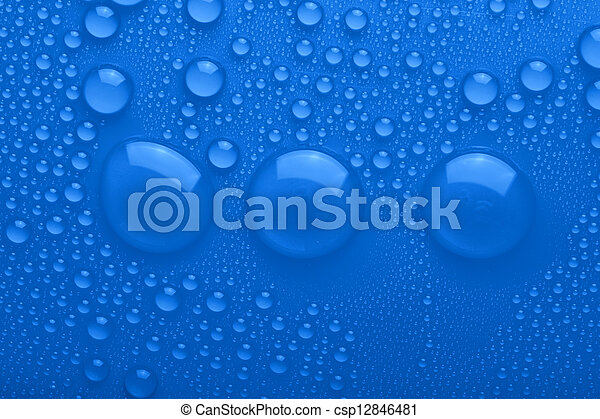 Water drops on blue background - csp12846481