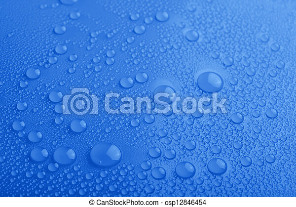 Water drops on blue background - csp12846454