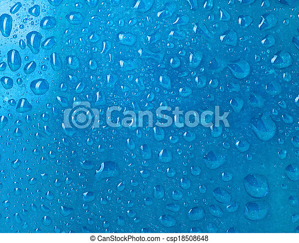 water drops on blue background - csp18508648
