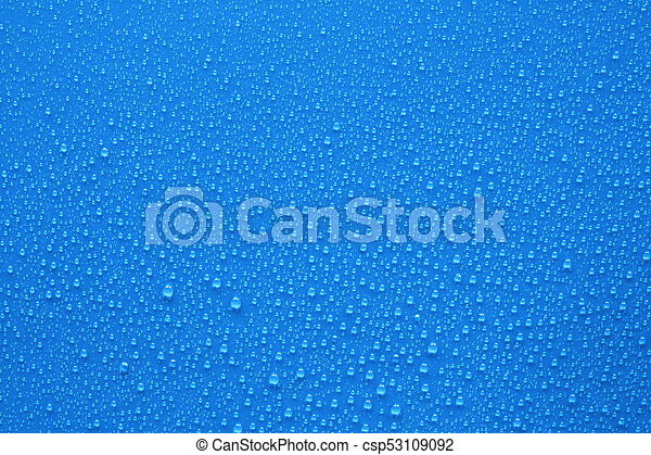Water drops on blue background - csp53109092