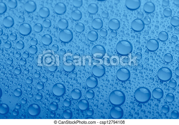 Water drops on blue background - csp12794108