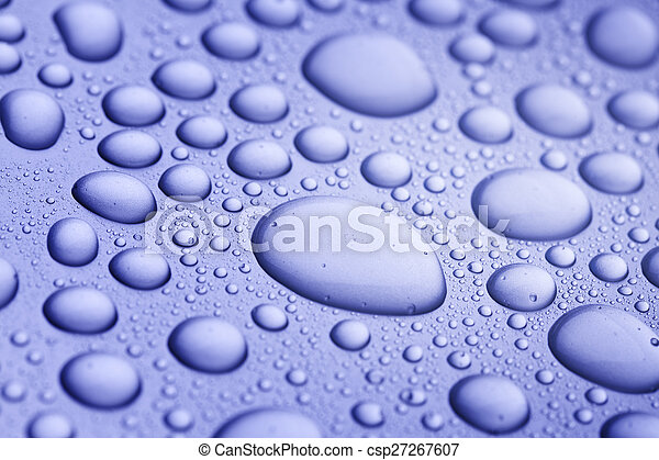 water drops on blue background - csp27267607