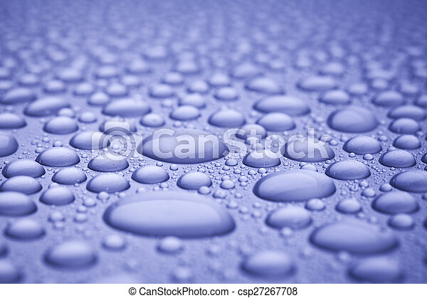 water drops on blue background - csp27267708