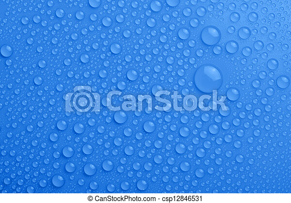 Water drops on blue background - csp12846531