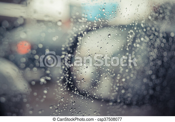 Water drops on car glass - csp37508077