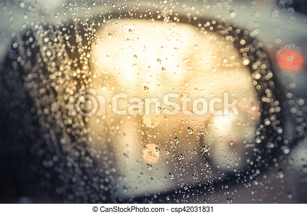 Water drops on car glass - csp42031831