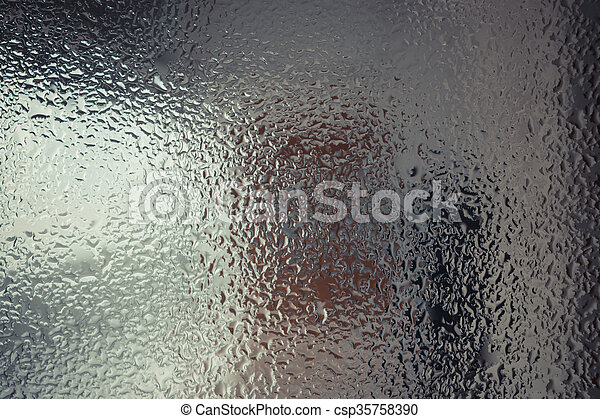 Water drops on glass - csp35758390