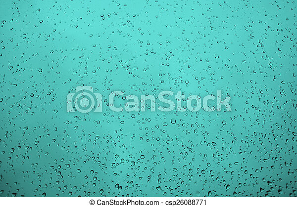 Water drops on the glass as a background - csp26088771