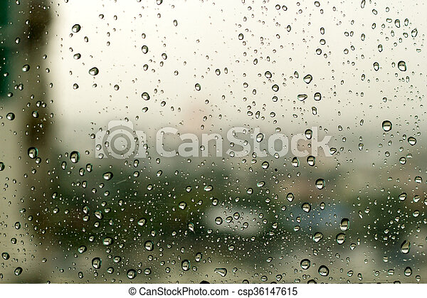 Water drops on window glass background. - csp36147615