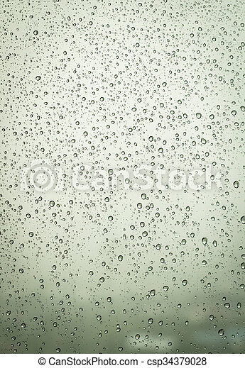 Water drops on window glass background. - csp34379028