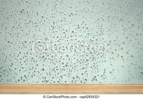 Water drops on window glass background. - csp42934321