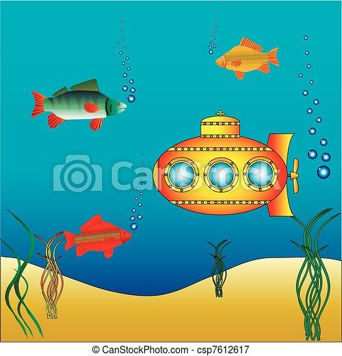 water, duikboot, gele, onder - csp7612617