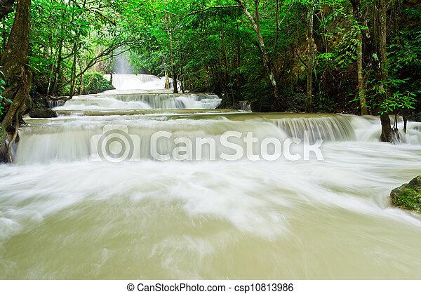 water fall , hua mae kamin level 1 kanchanaburi thailand - csp10813986