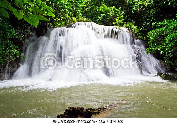 water fall , hua mae kamin level 3 kanchanaburi thailand - csp10814028