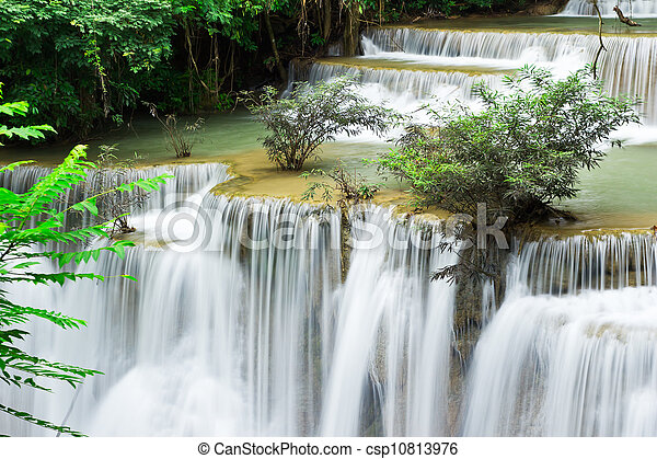 water fall , hua mae kamin level 4 kanchanaburi thailand - csp10813976