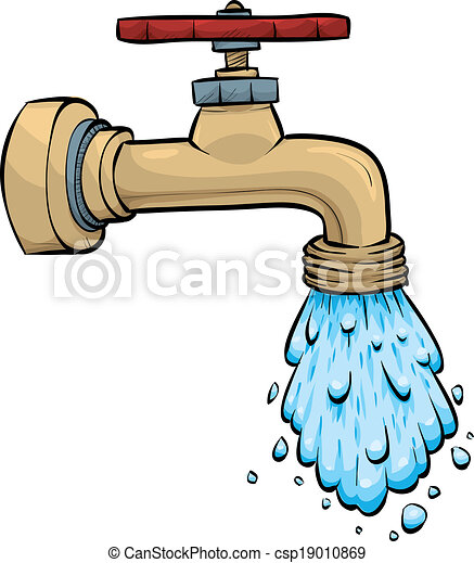 Water faucet. Water pours from a cartoon metal faucet. clip art ...
