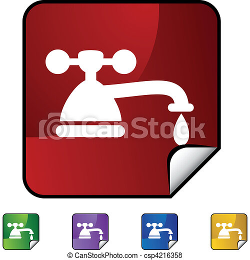Water faucet drip web button isolated on a background vector ...