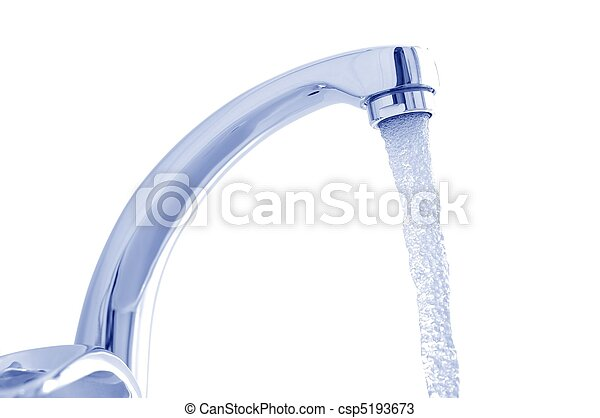 Water flowing from the faucet against the white background - csp5193673