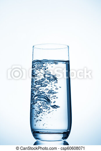 water glass on blue background - csp60608071