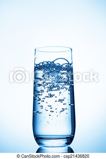 water glass on blue background - csp21436820