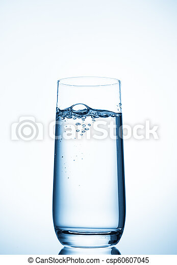 water glass on blue background - csp60607045