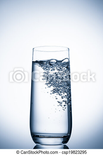 water glass on blue background - csp19823295