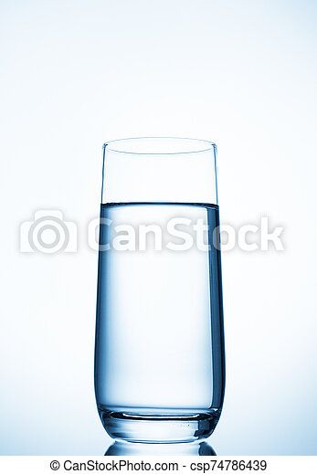water glass on blue background - csp74786439