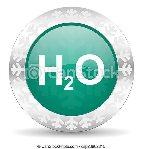 water green icon, christmas button, h2o sign - csp23982315