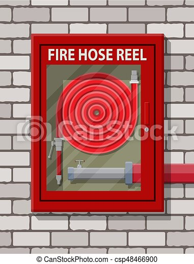 Water hose to extinguish the fire in cabinet - csp48466900