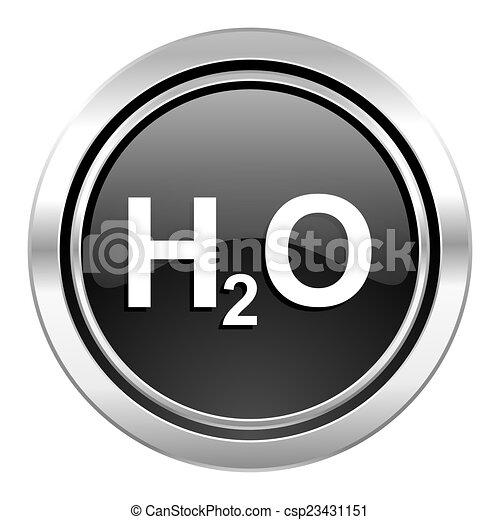 water icon, black chrome button, h2o sign - csp23431151