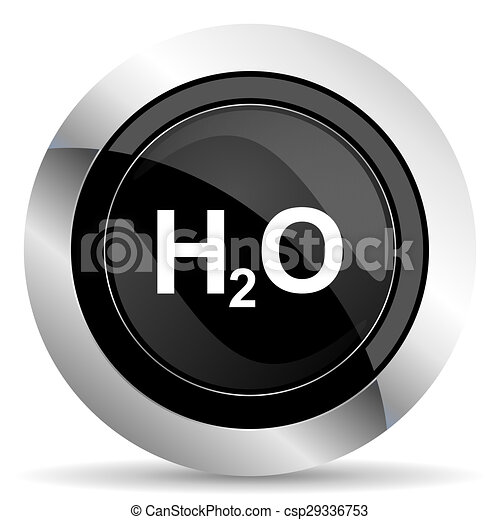 water icon, black chrome button, h2o sign - csp29336753
